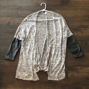 H&M Divided black gray cardigan with faux leather
